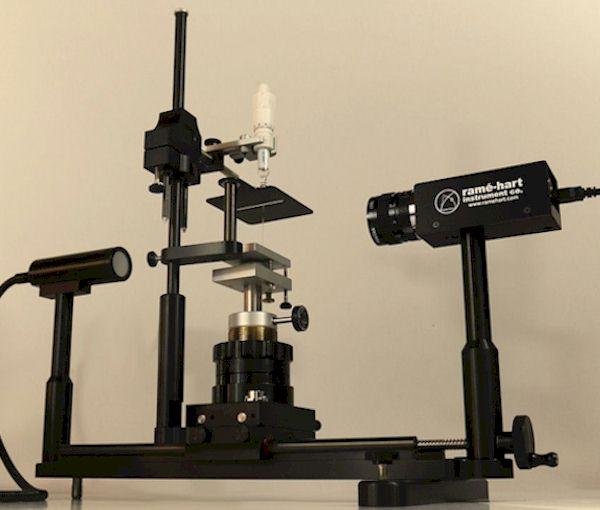 美國ramé-hart Model 500 接觸角儀,張力計,張力儀,濕潤性,清潔度,潤濕性能,接觸角低于5°,疏水性,粘著,接觸角測量方法,動態接觸角,靜態接觸角